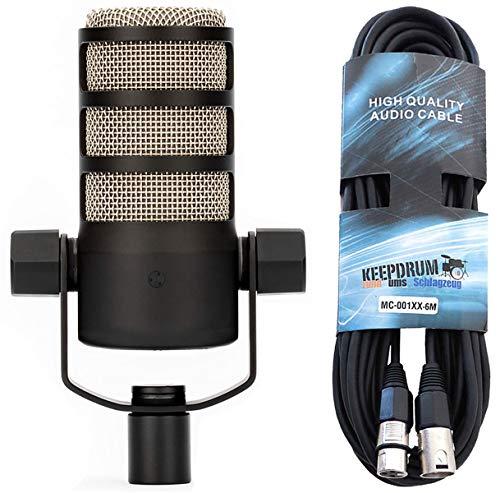 Rode Podmic professionelles dynamisches Podcast-Mikrofon + keepdrum XLR-Kabel 6m