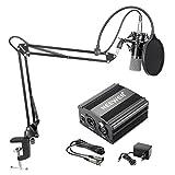 Neewer NW-700 Kondensator-Mikrofon-Kit, Schwarzer Mikrofon, Schwarze 48V Phantomspeisung, NW-35 Boom...