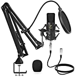 XLR Kondensator Mikrofon, TONOR Professional Nieren Studio XLR Mikrofon Kit mit T20 Mikrofonarm,...