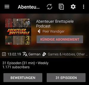 Podcast Addict - Anzahl der Abonnenten
