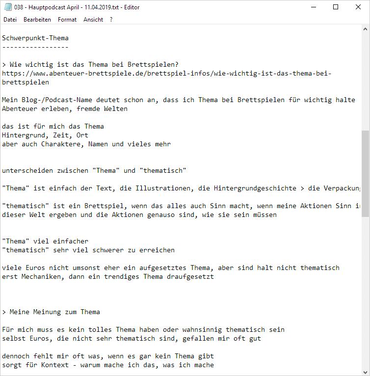 Beispiel für die Planung einer Podcast-Episode