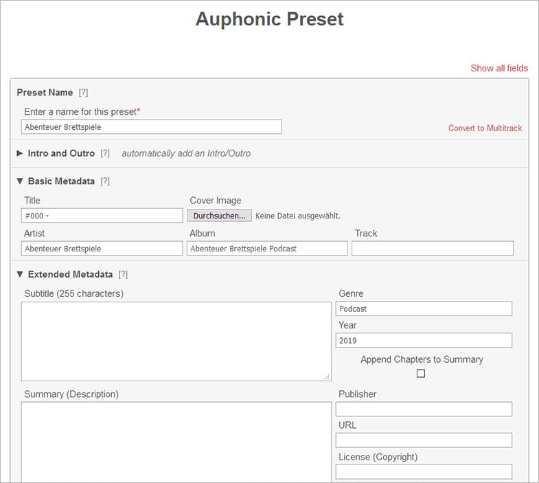 Teil eines Presets für Auphonic