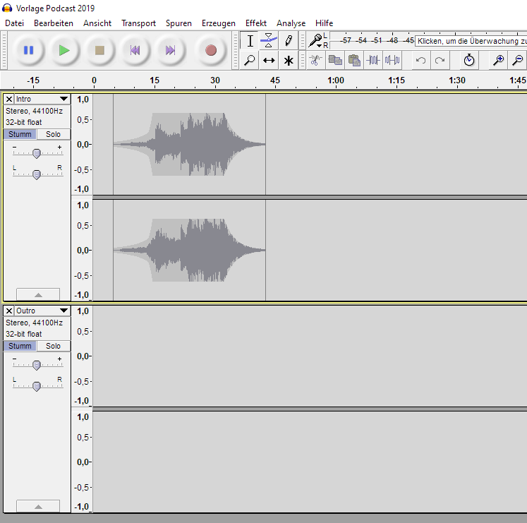 Podcast Workflow - Audacity Episoden Vorlage