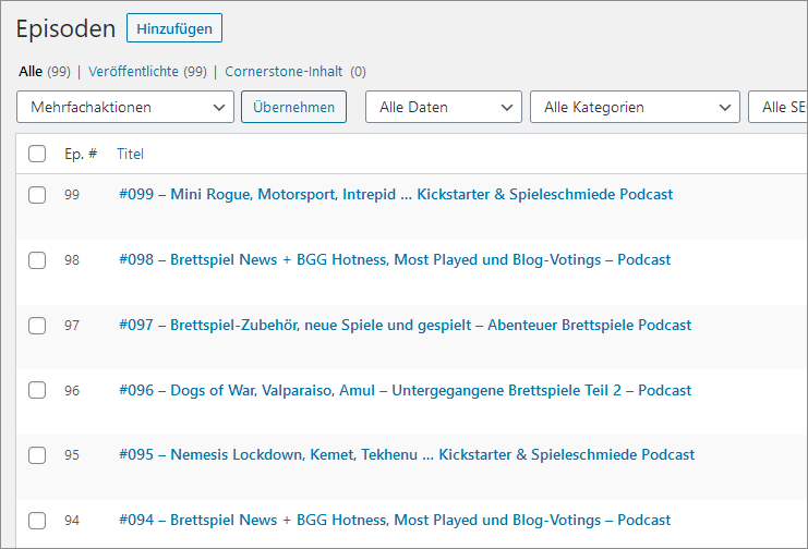 Podcast Workflow - Episoden vom Podlove Plugin