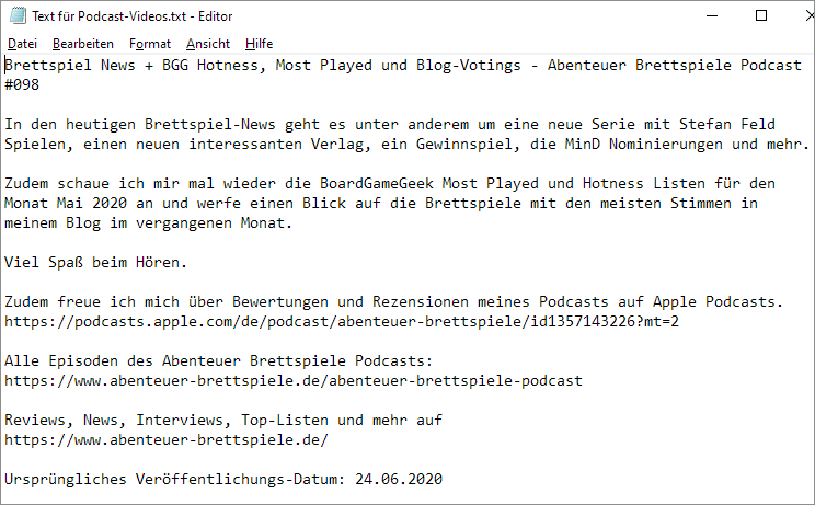 Text für Podcast-Videos