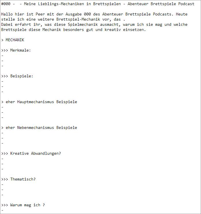 Vorlage für regelmäßige Mechanik-Episode